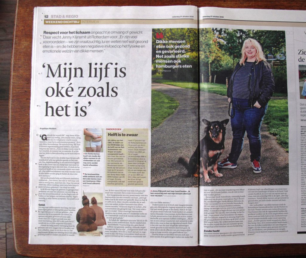 Jenny Klijnsmit in het Algemeen Dagblad Rotterdam